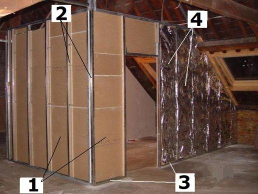 am nagement de combles cloisons. Black Bedroom Furniture Sets. Home Design Ideas